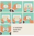 Set of flat hand icons holding various hi-tech vector