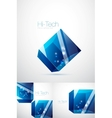 Blue glass cube background vector