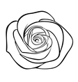 Black silhouette outline rose isolated on white vector