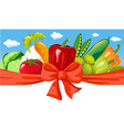 Horizontal design with vegetable bow and blue sky vector