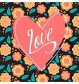 Postcard with heart on dark floral pattern vector