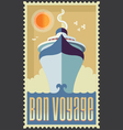 Retro vintage retro cruise ship design vector