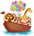 A boat full of animals vector