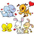 Animals celebrate valentines day vector