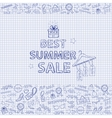 Summer sale on the notebook sheet hand draw vector