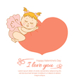 Postcard valentine is day with cupid vector