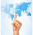 Finger touching world map on a touch screen vector