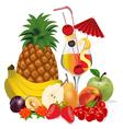Cocktail and fruits banana apple peach cherry plum vector