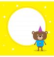 Frame with cute cartoon bear with hat birthday vector