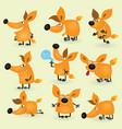 Funny cartoon fox set vector