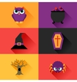 Happy halloween icon set in flat design style vector