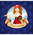 Brave pirate girl with treasure chest vector
