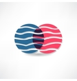 Abstract circles with wavy line icon vector