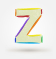 Alphabet letter z watercolor paint design element vector