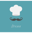 Chef hat and big mustache menu card flat design vector