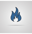 Fire icon with shadow - vector