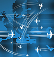 Airplanes flying over the abstract map of europe vector