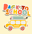 Back to school title with yellow bus vector