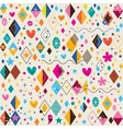 Cute hearts stars flowers and diamond shapes retro vector
