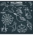 Chalkboard halloween silhouette set vector