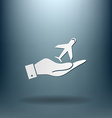 Hand holding a airplane symbol icon of air travel vector