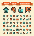 Outline grunge web icons set vector
