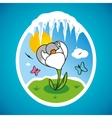 Spring snowdrop in frame vector