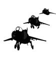 Landing plane silhouette vector