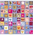 Cute flowers birds hearts pattern 5 vector