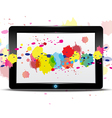 Tablet computer with color splash on screen vector