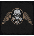 Grunge biker theme label with flowerswings and vector