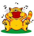 Singing red cat vector