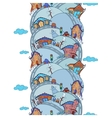 Seamless vertical pattern with cartoon houses vector