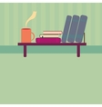Bookshelf with books and cup of tea in style flat vector