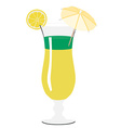 Yellow and green cocktail with umbrella lemon vector