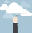 Businessman hand connecting cable to the cloud vector