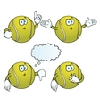 Thinking tennis ball set vector