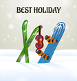 Skiing with ski goggles and snowboard on snow vector
