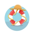 White lifebuoy with red stripes and rope vector