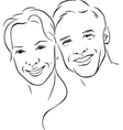 Man and woman - young couple - black outline vector