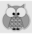 Sticker - cute owl with big squinting eyes vector