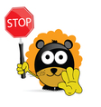 Sweet and cute lion with sign stop vector