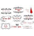 Calligraphic elements for valentines day design vector