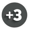 Plus three sign add three symbol vector