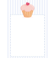 Cupcake on blue strips background card vector