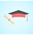 Flat graduation cap and diploma concept of vector