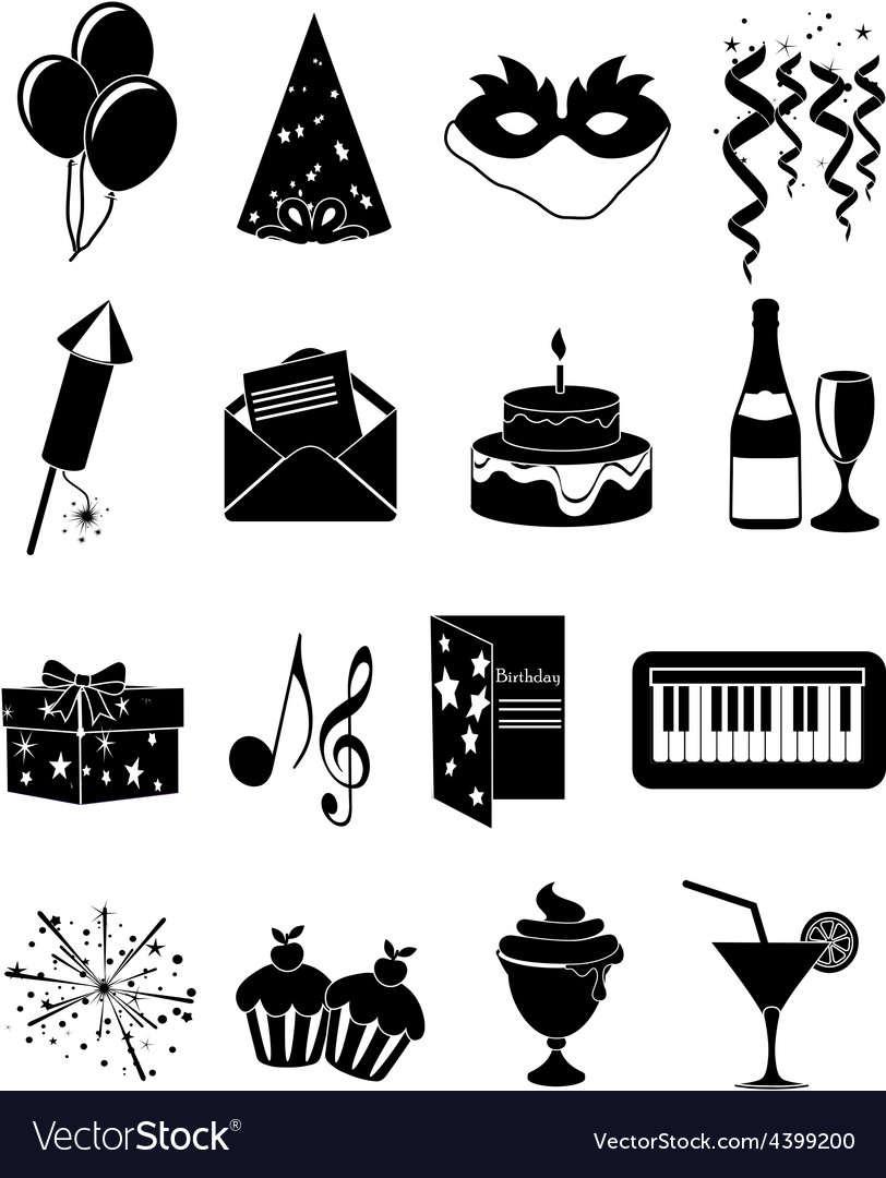 Birthday party icons set vector | Price: 3 Credit (USD $3)
