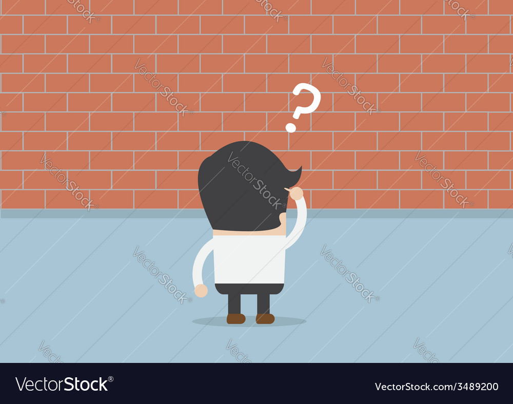 Businessman standing in front of a large brick wal vector | Price: 1 Credit (USD $1)