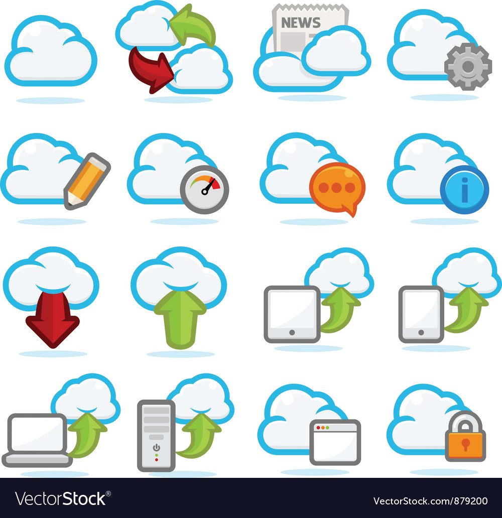 Cloud network icon set vector | Price: 3 Credit (USD $3)