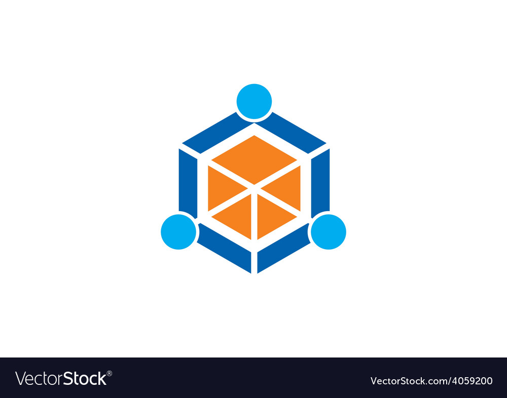 Cube polygon abstract people group logo vector | Price: 1 Credit (USD $1)